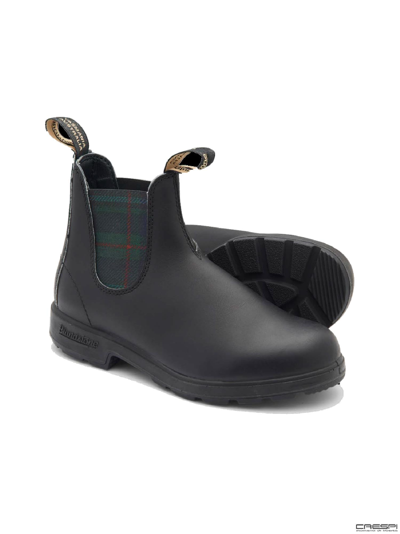 BOOT PELLE BLACK ELASTICO TARTAN GREEN