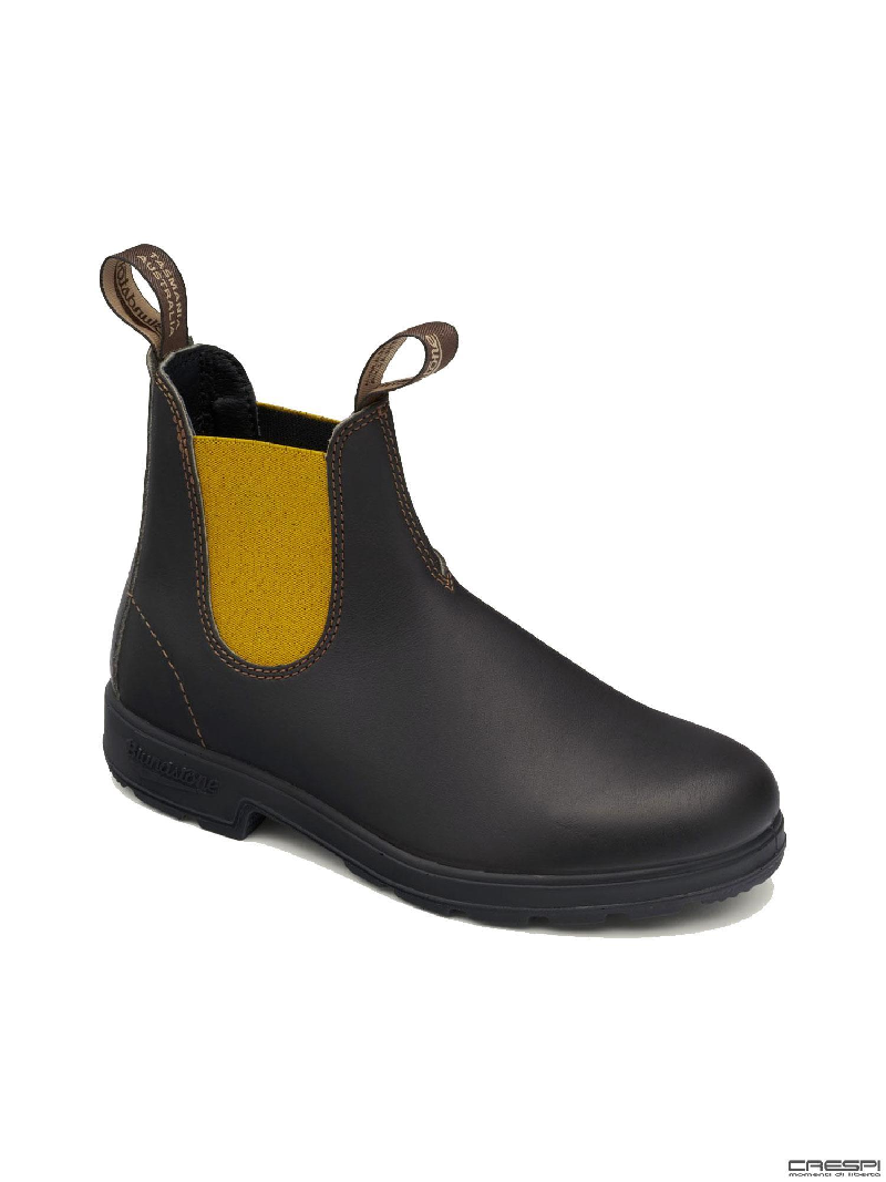 BOOT PELLE BROWN ELASTICO MUSTARD