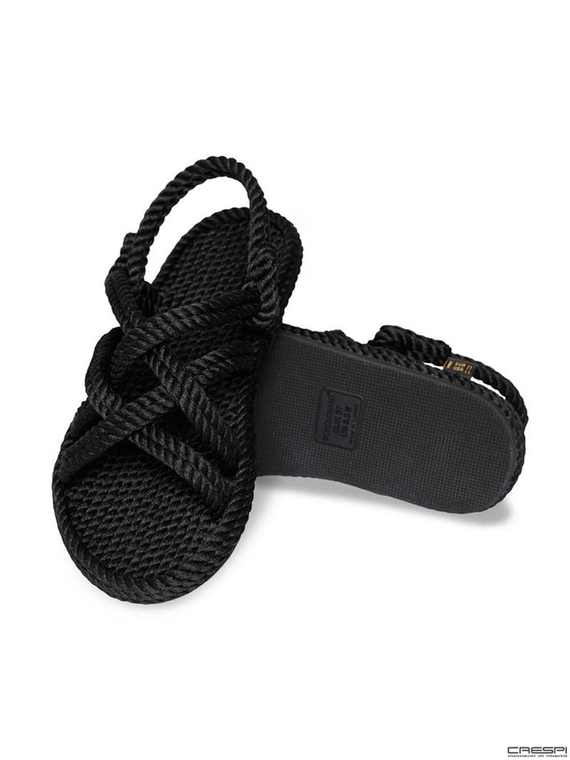 Sandali corda intrecciata Bodrum Bohonomad nero
