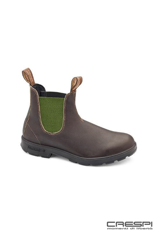 BOOT PELLE BROWN ELASTICO VERDE