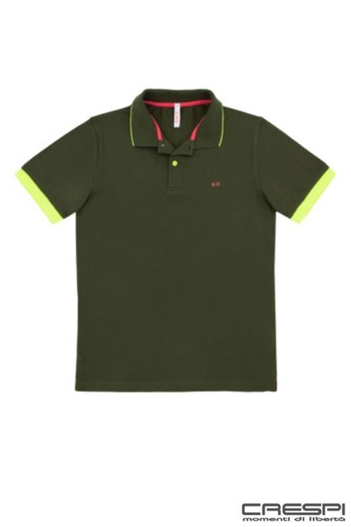 POLO MANICA CORTA SMALL STRIPES FLUO